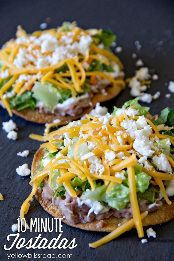 tostadas with beans, lettuce and cheese