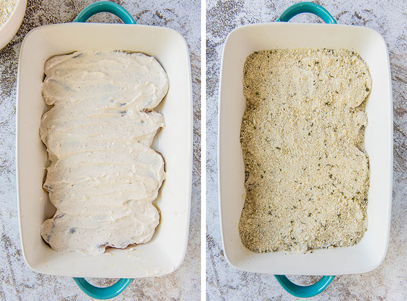 Casserole dish showing steps to baking chicken casserole
