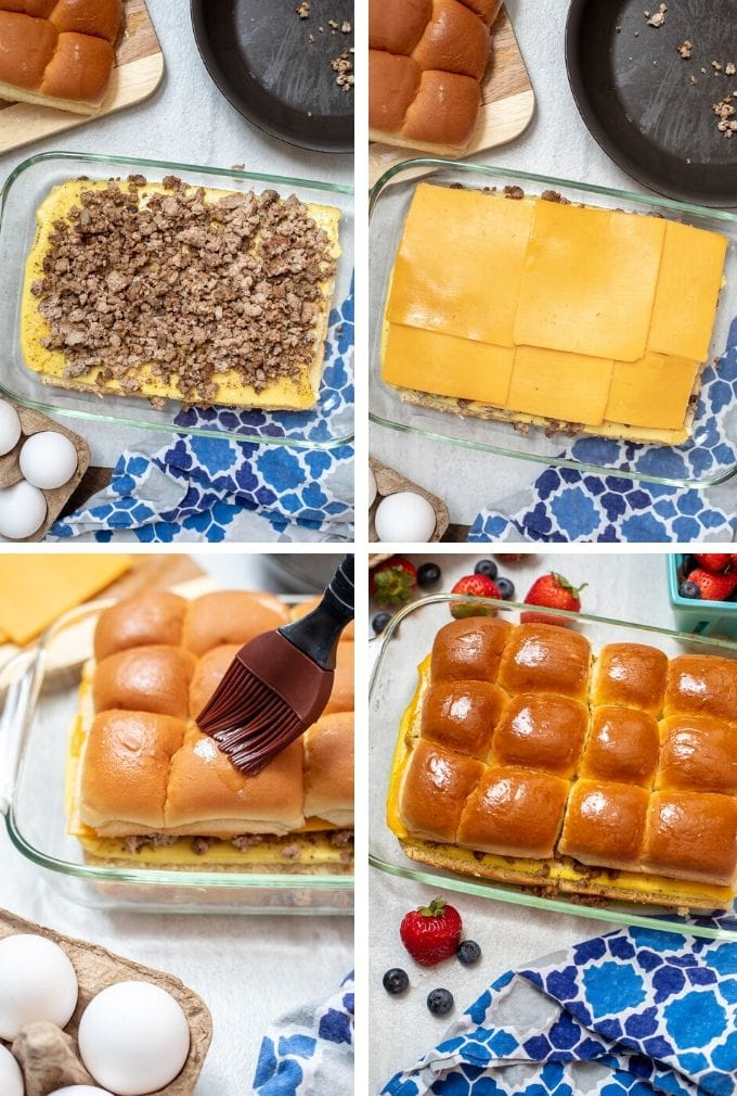 Collage of Step by Steps to make Breakfast Sliders