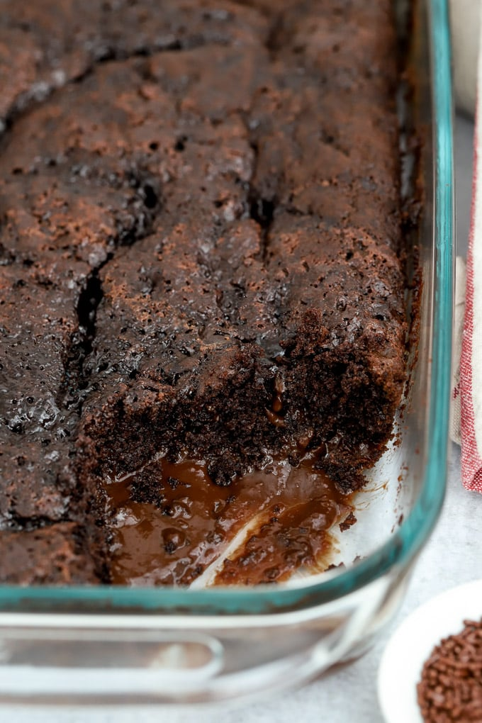 Chocolate Pudding Cake in a glass baking dish.