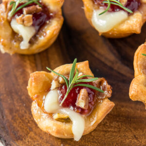 Brie and Cranberry bites on a table