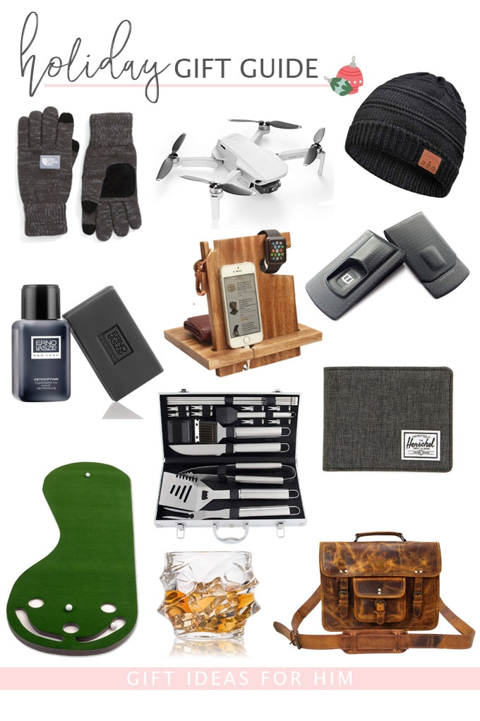 gift guide with images of gift ideas for men