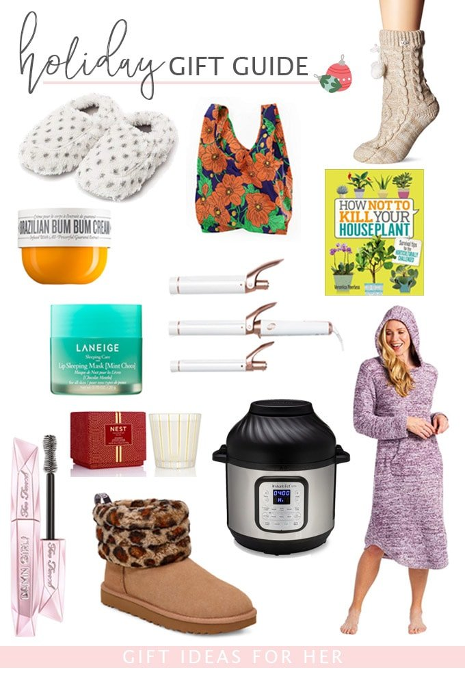 gift guide with images of gift ideas for women