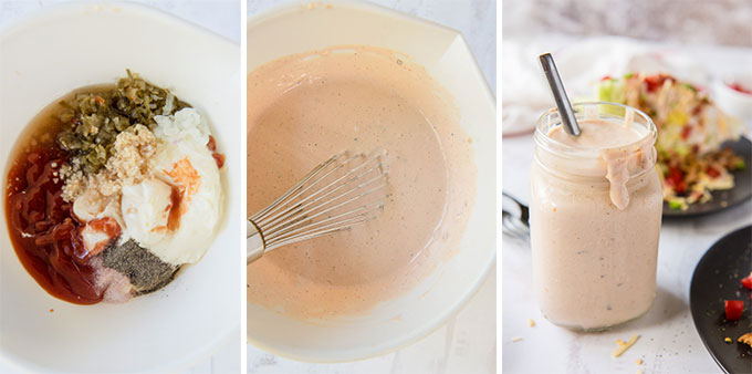 a collage of 3 images showing the process of making thousand island dressing.
