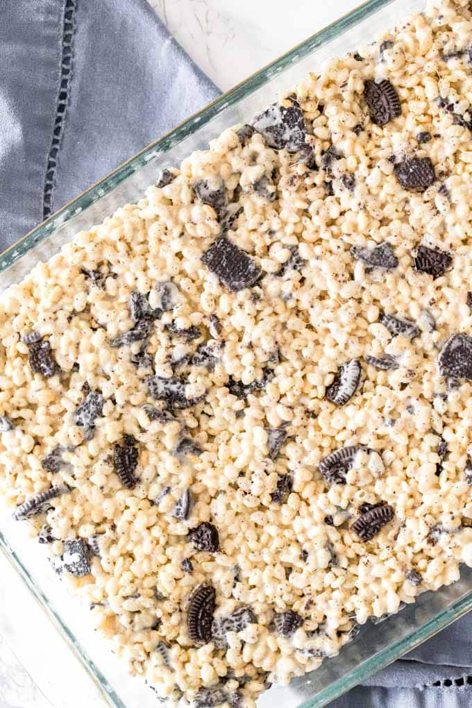 Overhead shot of a pan of Oreo Rice Krispie Treats