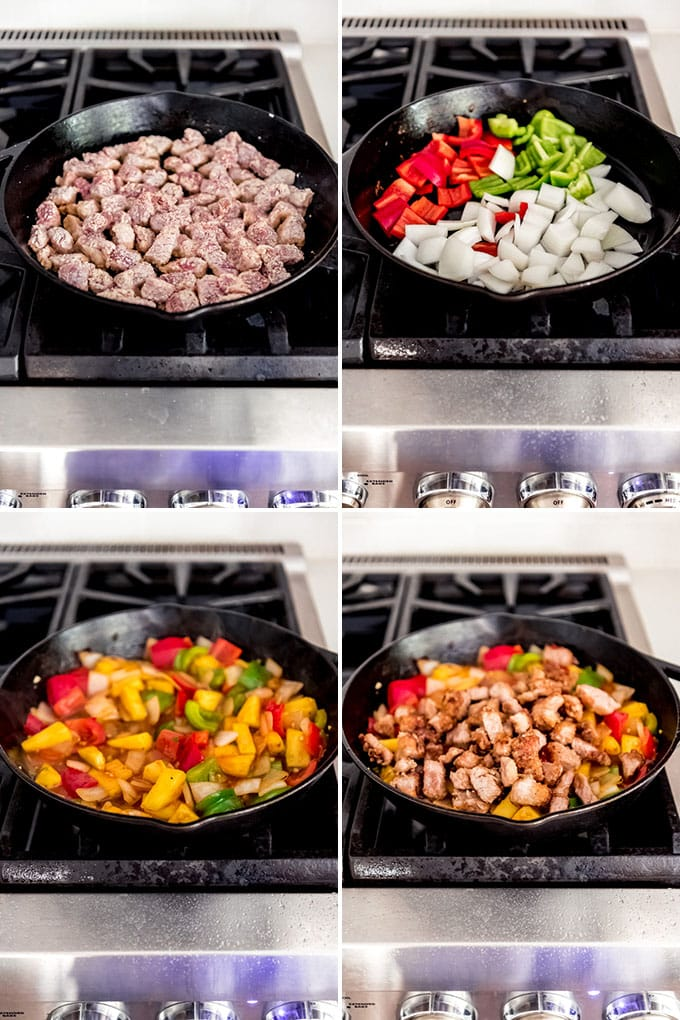 A collage of images showing how to make sweet and sour pork on the stove top.