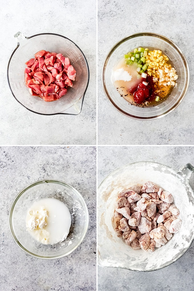 A collage of images showing how to prepare pork tenderloin with a marinade and cornstarch coating.