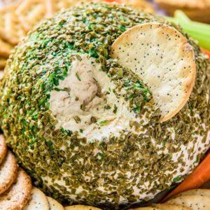 A close up of Crab Dip Cheese Ball