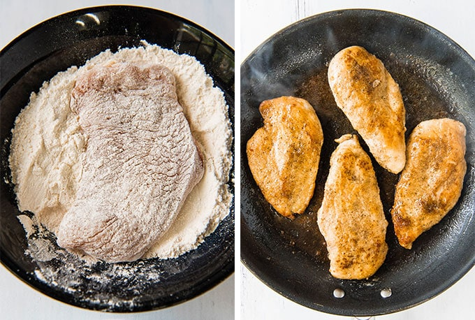 a collage of two images with chicken dredged in flour then pan fried