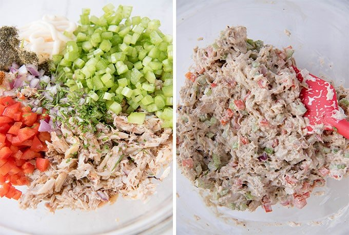 A collage of two images showing the ingredients to make crab salad, both unmixed and mixed.