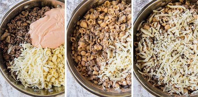 a collage of shots showing how to make hamburger casserole