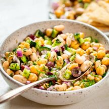 Greek bean salad featured image.