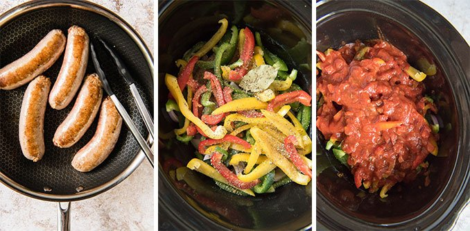 A collage of images showing the process of making sausage and pepper in the slow cooker.