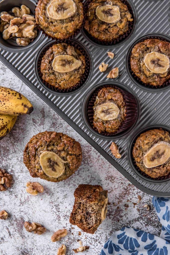 A pan full of freshly baked banana bran muffins