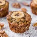A close up of a Banana Bran muffin