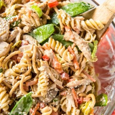 A dish filled with chicken and pasta