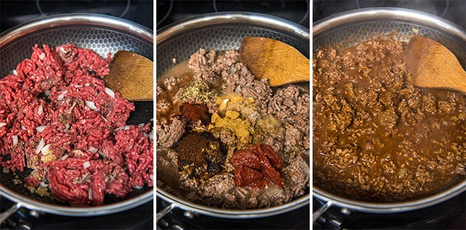 A collage of three images depicting the steps for making ground beef taco meat