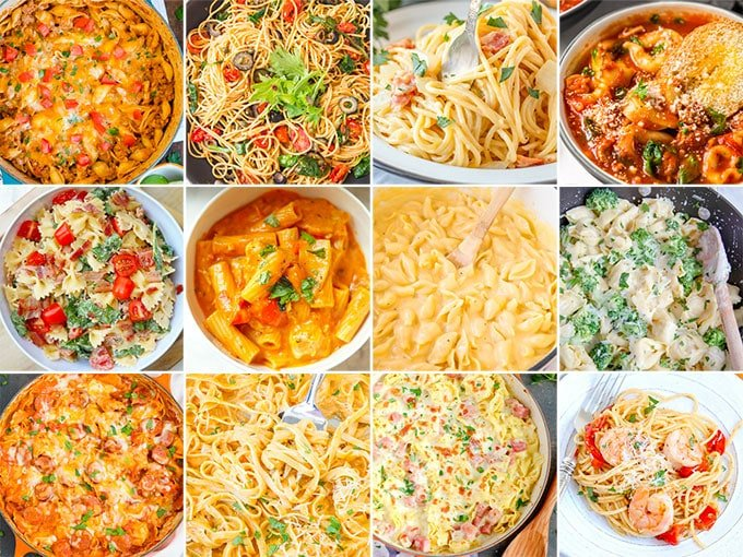 collage of images for pasta dinners