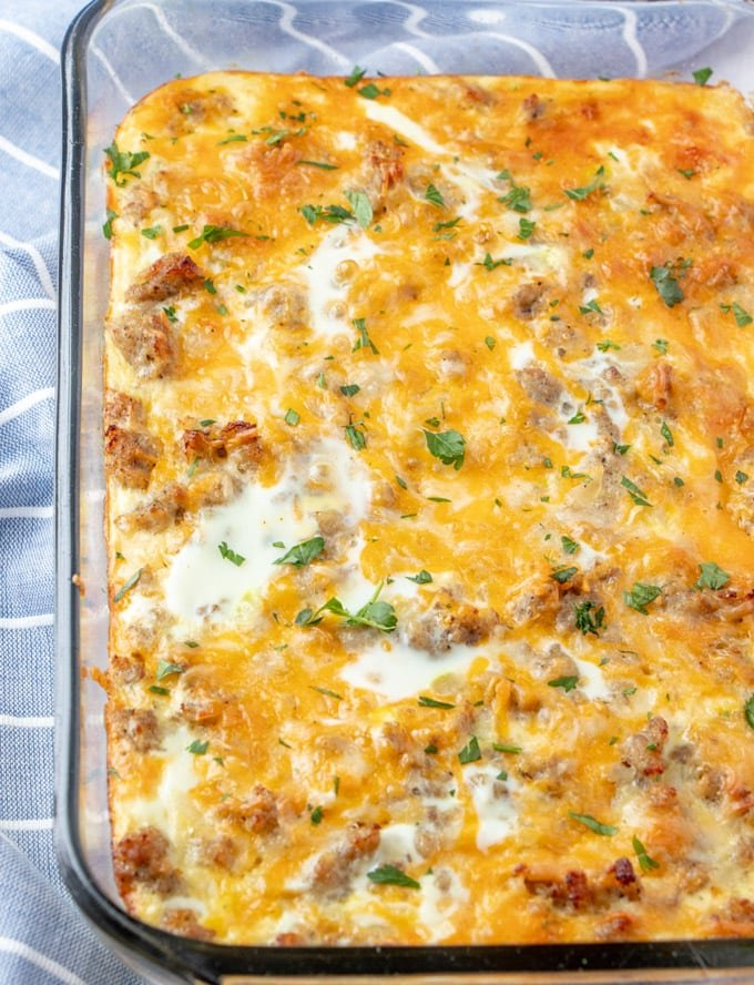 Baked egg casserole in a glass dish.
