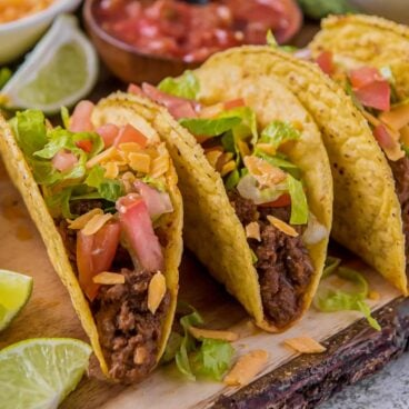A plate of crispy ground beef tacos
