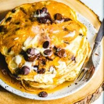 Chocolate chip pancakes featured image.