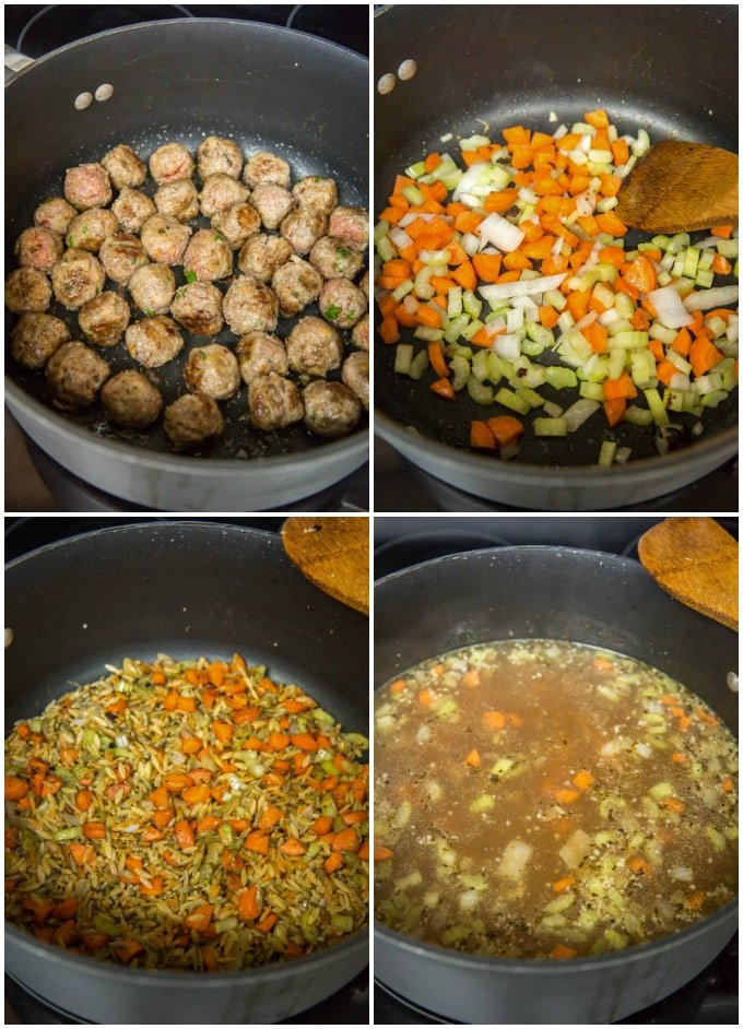Sequence of steps for Italian Wedding Soup.
