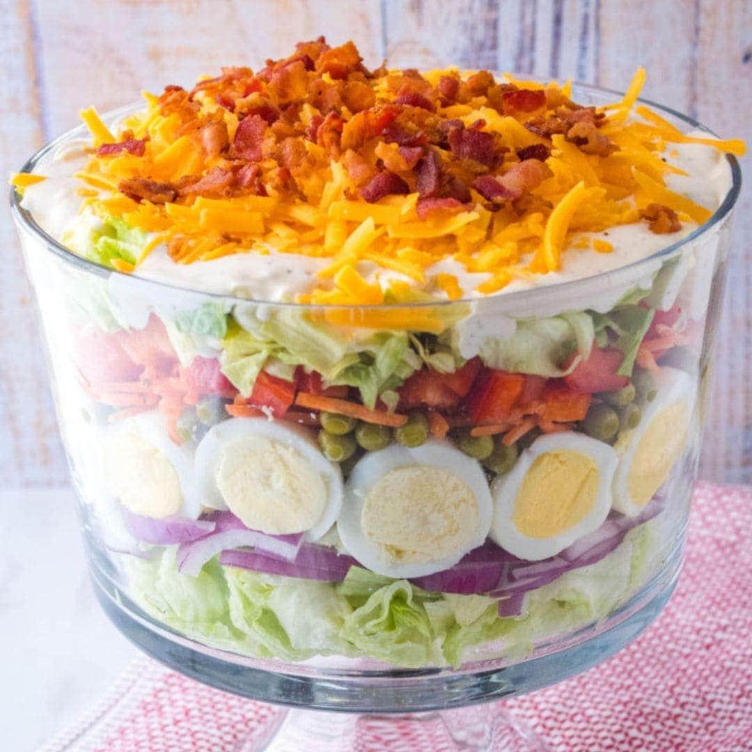 7 Layer salad in a big glass salad bowl