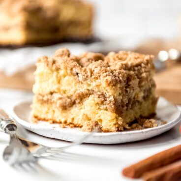 A piece of coffee cake on a plate