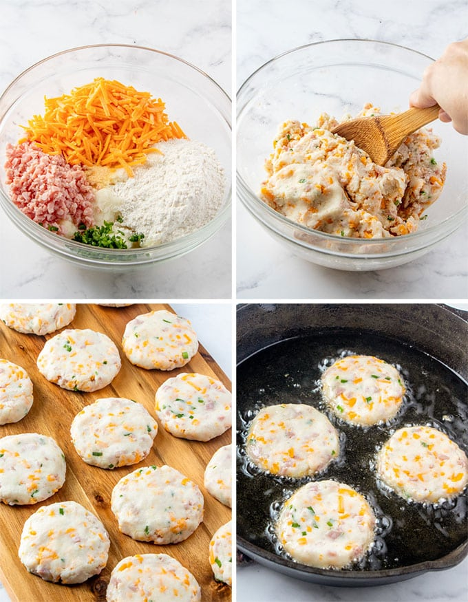 process steps images for making mashed potato croquettes