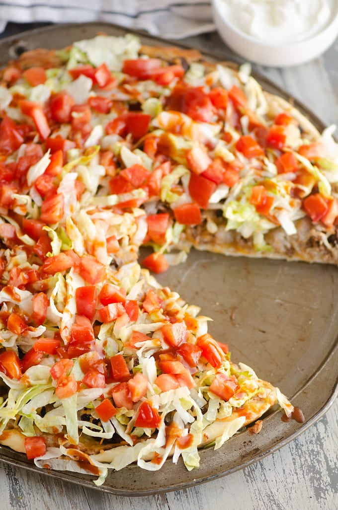 Taco Pizza on pan.
