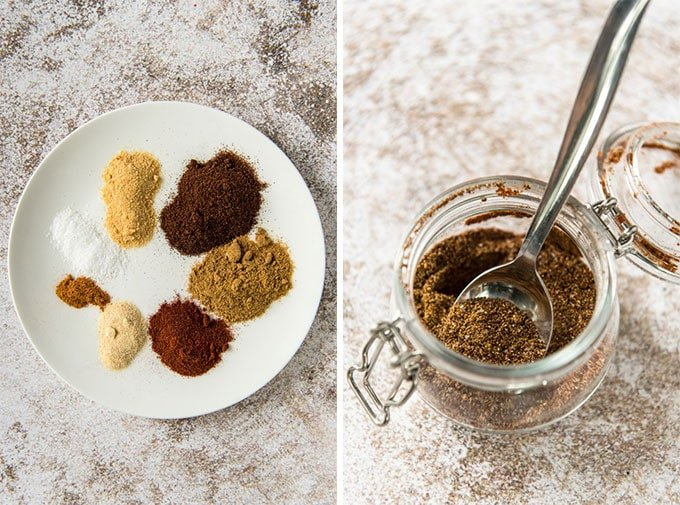 Fajita seasoning - separated by ingredients on a plate in one image and mixed in a jar in the other.