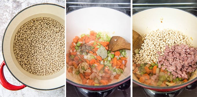 a collage of three photos depicting the steps for making navy bean soup