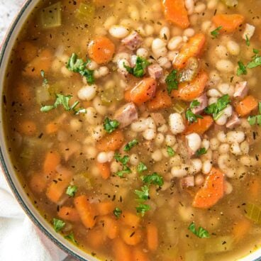 A bowl of Navy Bean and Ham Soup