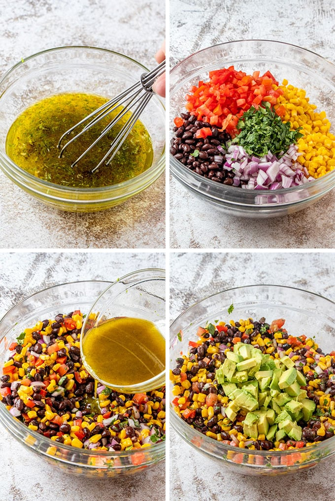 a collage of 4 images showing how to make lime dressing and black bean corn salad