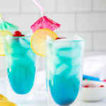 two glasses of blue lagoon cocktail