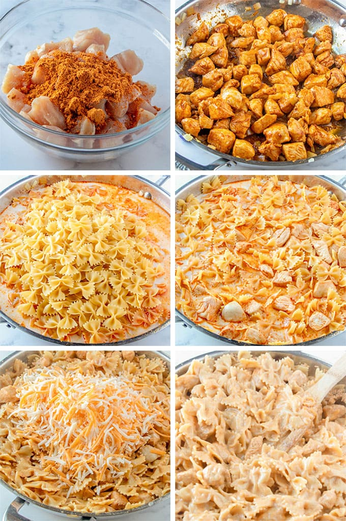 a collage of images showing how to make one pot taco pasta.