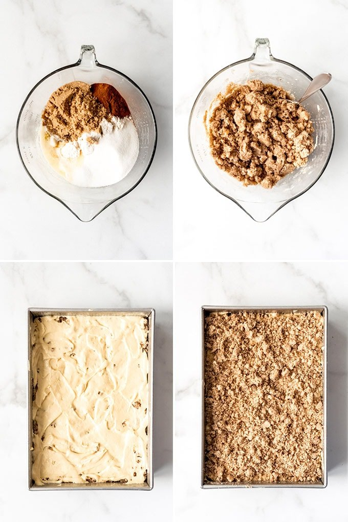 A collage of images showing how to make cinnamon-streusel coffee cake.