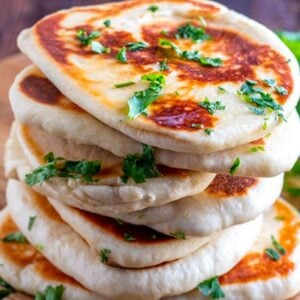 Stack of naan bread.