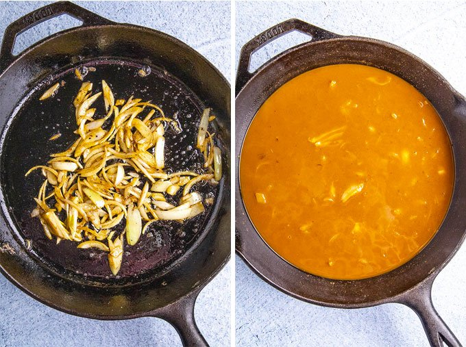 a collage of 2 images showing how to make ancho gravy
