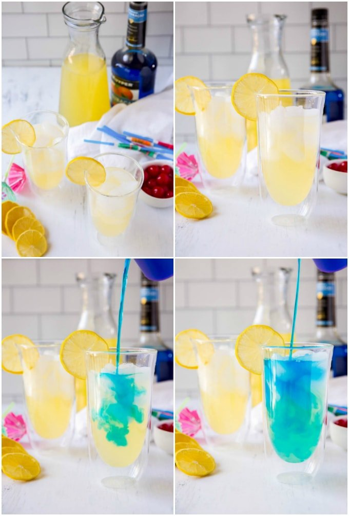 steps to make the blue lagoon drink