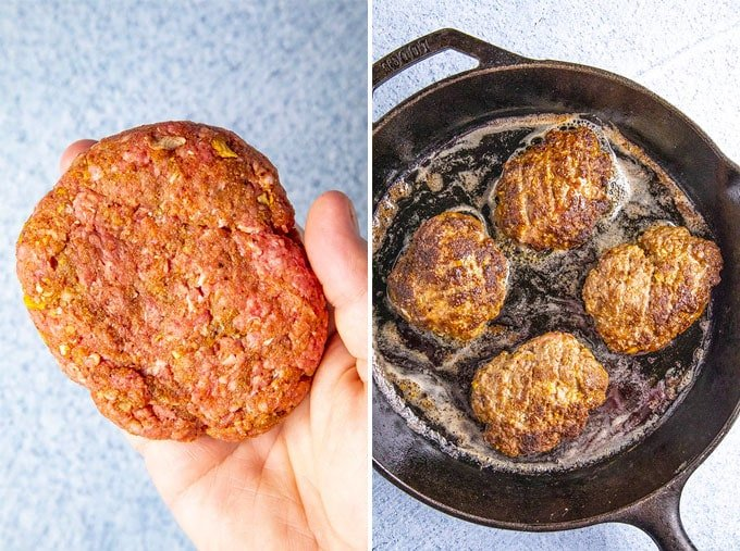 Collage of 2 images showing how to form the Salisbury steak patties by hand and sauteeing them in a cast iron skillet.