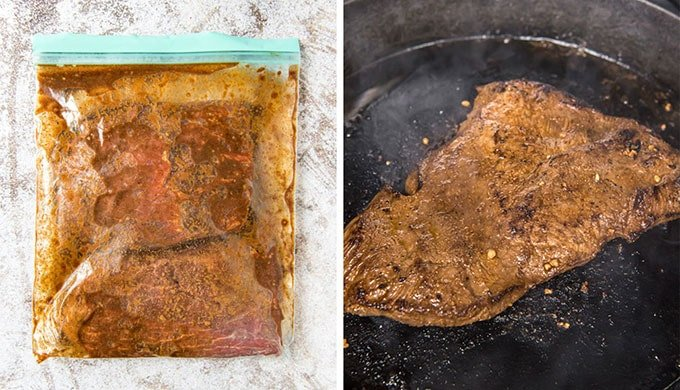 a collage of two images sowing steak in a bag with marinade and cooking in a skillet