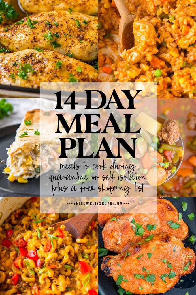 14 Day Meal Plan (for Self Isolation) | YellowBlissRoad.com