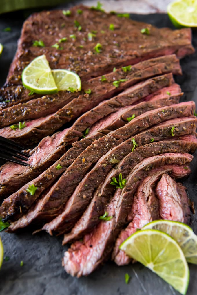 a tender marinated carne asada steak, sliced into strips