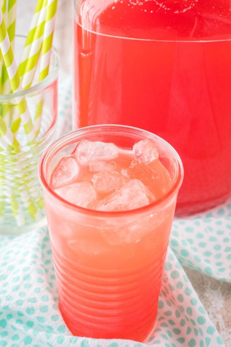 glass of homemade hawaiian punch with ice