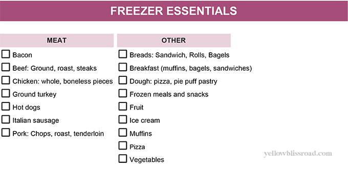 a freezer essentials shopping checklist