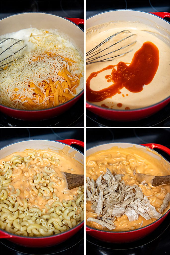 how to make buffalo chicken mac and cheese collage of 4 images