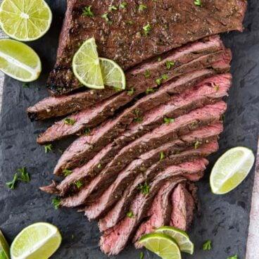 Close up of sliced Carne Asada steak