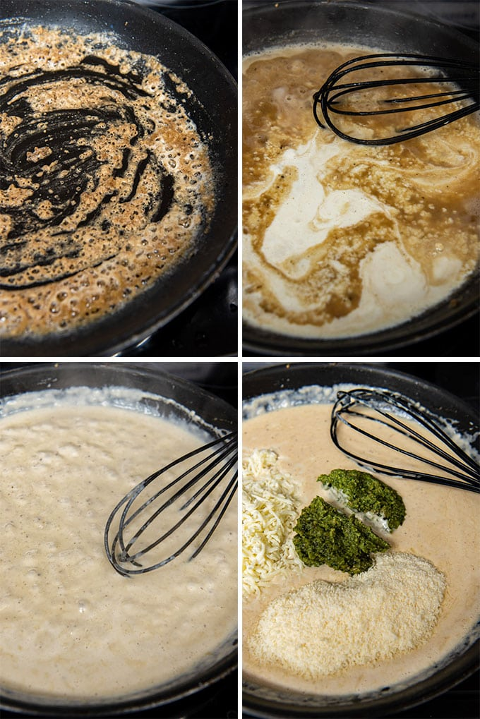 images in a collage showing how to make cremay pesto sauce