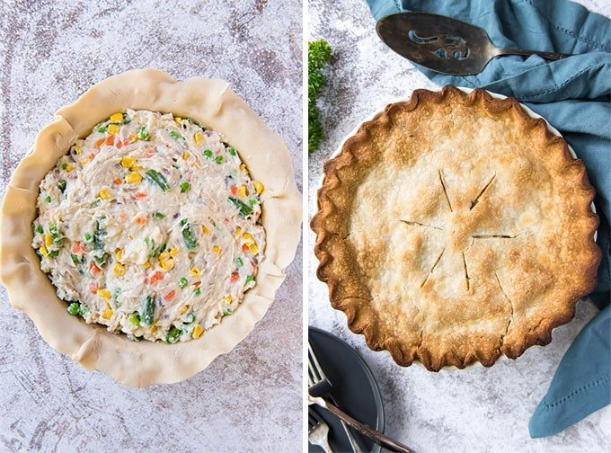 Picture of Chicken Pot Pie - before, and after baking.